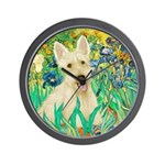 Irises / Scottie (w) Wall Clock