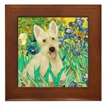 Irises / Scottie (w) Framed Tile