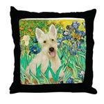 Irises / Scottie (w) Throw Pillow