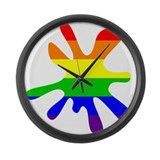 Rainbow Inkblot Large Wall Clock