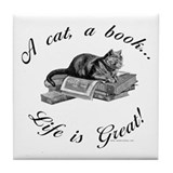 A Cat, A Book Tile Coaster