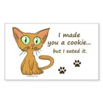 Cute Kitty Ate Your Cookie Rectangle Sticker 10 p