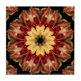 Yellow Iris Mandala Tile Coaster
