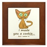 Cute Kitty Ate Your Cookie Framed Tile