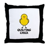 Quilting Chick Throw Pillow