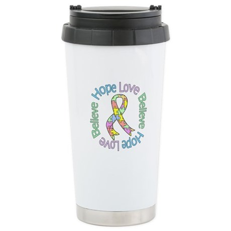 Autism Pastel Ribbon Ceramic Travel Mug