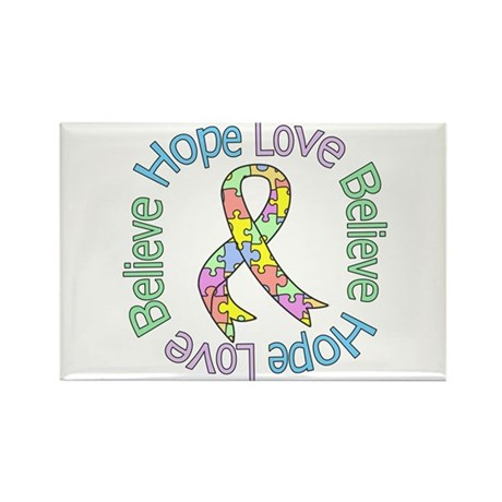 Autism Pastel Ribbon Rectangle Magnet