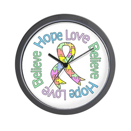 Autism Pastel Ribbon Wall Clock