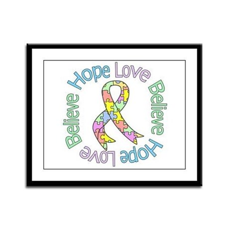Autism Pastel Ribbon Framed Panel Print