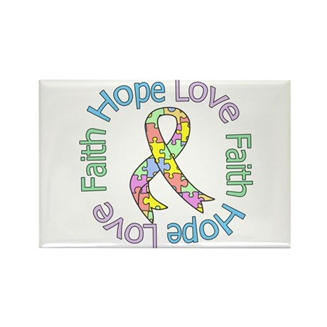 Autism HopeLoveFaith Rectangle Magnet