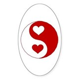Yin Yang Hearts Oval Decal