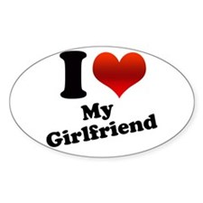 I Heart My Girlfriend Oval Decal