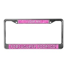 Pink Dot Portuguese Podengo License Plate Frame