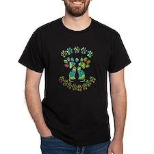 Cat Menorah Black T-Shirt