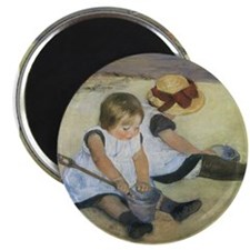 "Cassatt Children Playing on Beach 2.25"" Magnet (10"