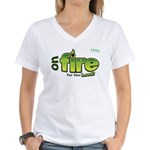 On Fire for the Lord 2 green Women's V-Neck T-Shir