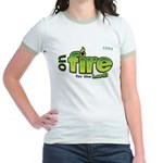 On Fire for the Lord 2 green Jr. Ringer T-Shirt