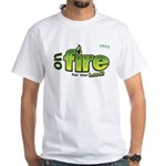 On Fire for the Lord 2 green White T-Shirt