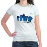 On Fire for the Lord 2 blue Jr. Ringer T-Shirt