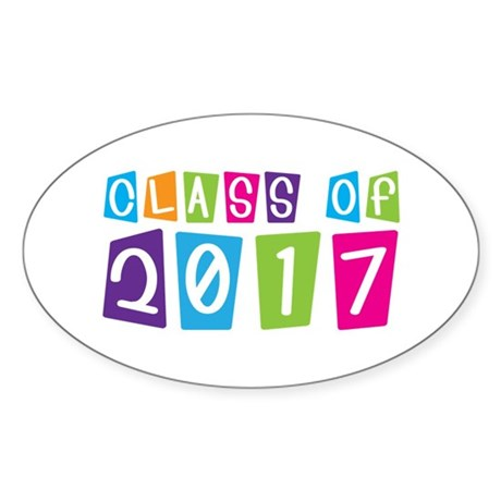 Colorful Class Of 2017 Oval Sticker
