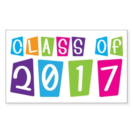 Colorful Class Of 2017 Rectangle Sticker 10 pk)