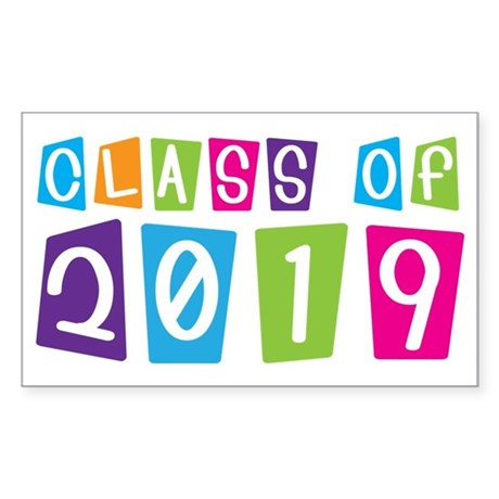 Colorful Class Of 2019 Rectangle Sticker 10 pk)