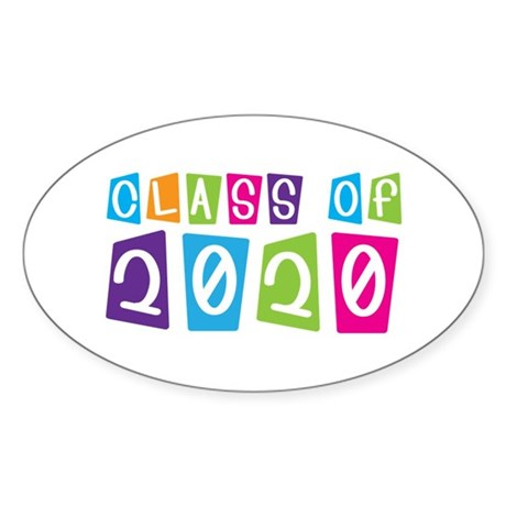 Colorful Class Of 2020 Oval Sticker (10 pk)
