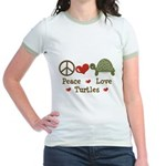 Peace Love Turtles Pink Jr. Ringer T-Shirt