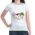 Peace Love Turtles Pink Jr. Ringer T-Shirt