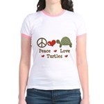 Peace Love Turtles Yellow Jr. Ringer T-Shirt