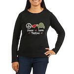 Peace Love Turtles Ladies Long Sleeve Black Tshirt