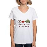 Peace Love Turtles Women's V-Neck T-Shirt