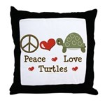 Peace Love Turtles Throw Pillow