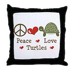 Peace Love Turtles Throw Pillow