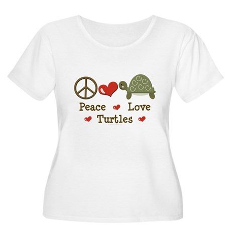 Peace Love Turtles Plus Size Scoop Neck T-shirt