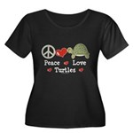 Peace Love Turtles Plus Size Scoop Neck Black Tee