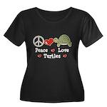 Peace Love Turtles Plus Size Scoop Neck Black Tee