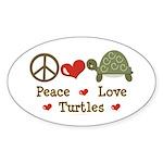 Peace Love Turtles Oval Sticker