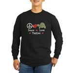 Peace Love Turtles Long Sleeve Black T-Shirt