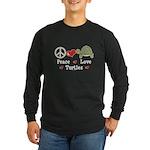 Peace Love Turtles Long Sleeve Black T-Shirt