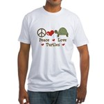 Peace Love Turtles Fitted T-Shirt
