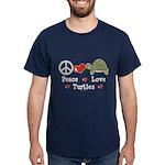 Peace Love Turtles Navy Blue T-Shirt