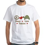 Peace Love Turtles White T-Shirt
