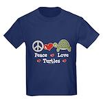 Peace Love Turtles Kids Navy Blue T-Shirt