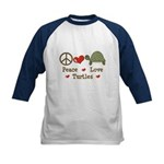 Peace Love Turtles Kids Navy Blue Baseball Jersey