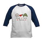 Peace Love Turtles Kids Navy Blue Baseball Jersey
