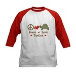 Peace Love Turtles Kids Red Baseball Jersey