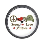 Peace Love Turtles Wall Clock