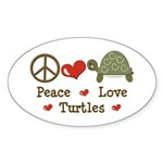 Peace Love Turtles Oval Sticker (10 pk)