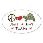 Peace Love Turtles Oval Sticker (50 pk)